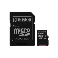 Kingston microSDXC 64GB Canvas Select UHS-I + adaptér