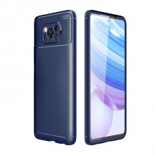 Carbon silicone case for Poco X3 NFC blue